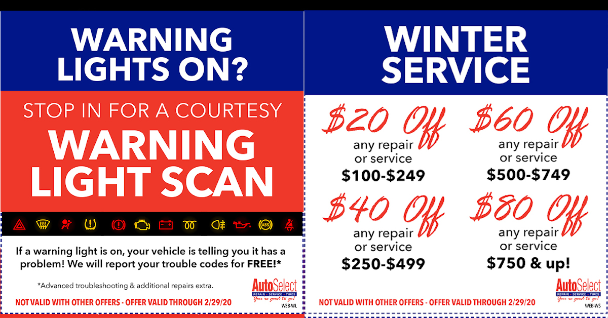Don't miss out! Best Auto Repair & Tire Coupons at any Auto Select Location!