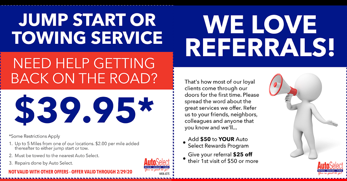 Save! Local Auto Repair Specials at all Auto Select Locations!