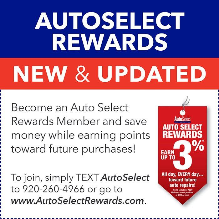 3% Rewards on Auto Repair and Tires in Neenah, WI