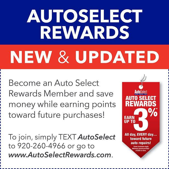 3% Rewards on Auto Repair and Tires in Appleton, WI