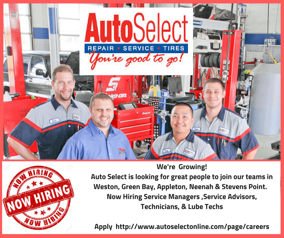 Now Hiring!  Lube Tech Jobs in Neenah WI