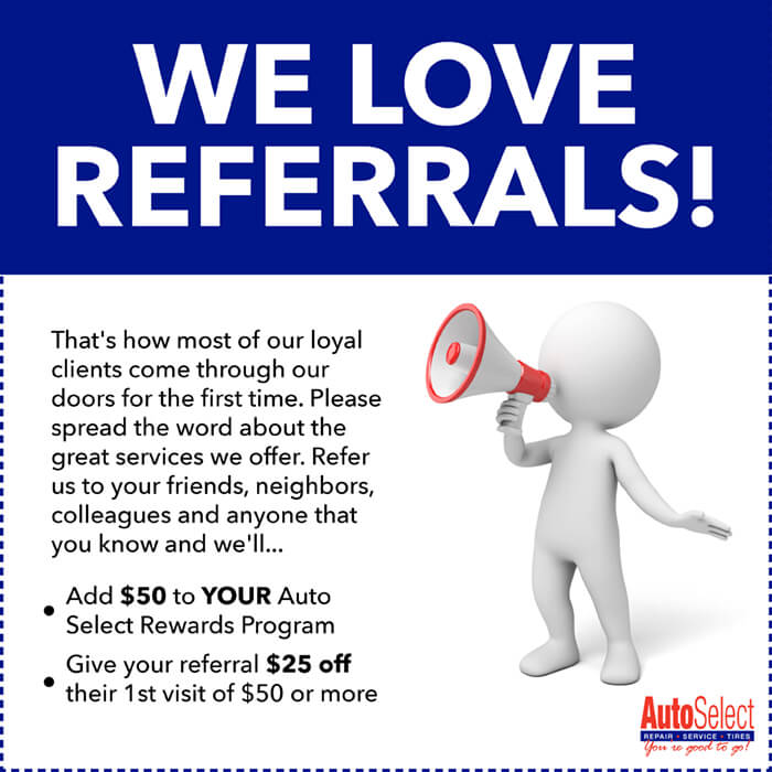 Don't wait!  Earn Money for Referring Clients to Auto Select in Stevens Point